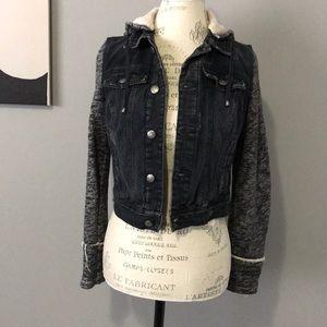 Free People Black/Gray Denim/Knit Jacket